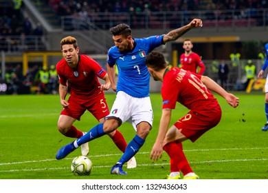 MILAN - NOV 17, 2018:  Lorenzo Pellegrini 7 in action. Italy - Portugal. UEFA Nations League. Giuseppe Meazza stadium.