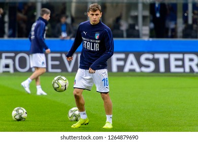MILAN - NOV 17, 2018: Nicolo Barella 18 warms up.  Italy - Portugal. UEFA Nations League. Giuseppe Meazza stadium.