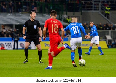 MILAN - NOV 17, 2018: Ruben Neves 18.Italy - Portugal. UEFA Nations League. Giuseppe Meazza stadium.