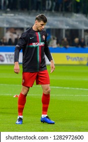 MILAN - NOV 17, 2018: Ruben Dias 3 warms up. Italy - Portugal. UEFA Nations League. Giuseppe Meazza stadium.
