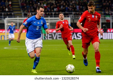 MILAN - NOV 17, 2018: Ruben Dias 3 in action. Italy - Portugal. UEFA Nations League. Giuseppe Meazza stadium.