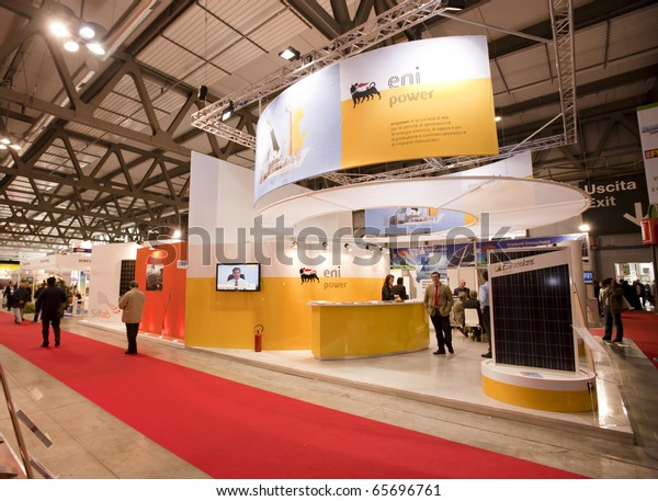 MILAN - NOV 19: ENI power stand at ENERSOLAR+, 2010 International fair on solar energy, on Nov 19, 2010 in Milan.