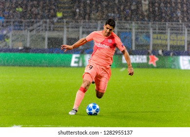 Milan - Nov 6, 2018: Luis Suarez 9 attacks in the penalty area. FC Internazionale - FC Barcelona. UEFA Champions League. Matchday 4. Giuseppe Meazza (San Siro) stadium.