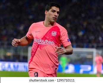 Milan - Nov 6, 2018: Luis Suarez 9 portrait. FC Internazionale - FC Barcelona. UEFA Champions League. Matchday 4. Giuseppe Meazza (San Siro) stadium.