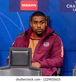 Milan - Nov 6, 2018: Malcom on the substitution seat.  FC Internazionale - FC Barcelona. UEFA Champions League. Matchday 4. San Siro stadium.