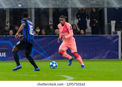 Milan - Nov 6, 2018: Malcom 14 controls the ball. FC Internazionale - FC Barcelona. UEFA Champions League. Matchday 4. Giuseppe Meazza (San Siro) stadium.