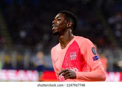Milan - Nov 6, 2018: Ousmane Dembele 11 smiles. FC Internazionale - FC Barcelona. UEFA Champions League. Matchday 4. Giuseppe Meazza (San Siro) stadium.