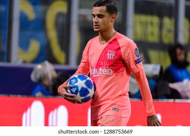 Milan - Nov 6, 2018: Philippe Coutinho 7 close up portrait. FC Internazionale - FC Barcelona. UEFA Champions League. Matchday 4. Giuseppe Meazza (San Siro) stadium.
