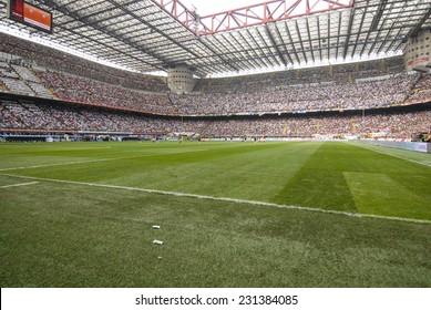 MILAN, NOVEMBER 10, 2005: soccer field of the san siro stadium, in Milan.