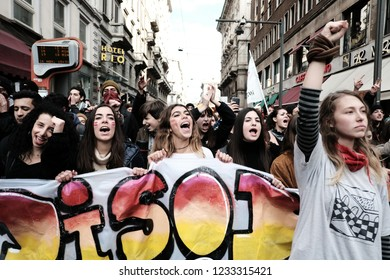 MILAN: NOVEMBER 16, 2018. Students protest against italian government for the school policy and migration policy during the 'No Salvini Day' against the italian interior minister.