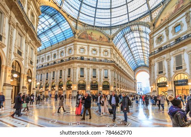 Milan, November 2017: People Walking In Gallery Vittorio Emanuele II, the shopping mall in Milano, the fashion and design capital of the world, on November 2017 in Milan, Italy