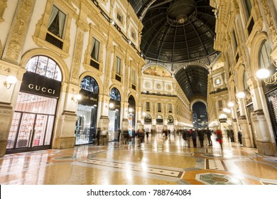 Milan, November 2017: Milan, November 2017: People Walking In Gallery Vittorio Emanuele II, the shopping mall in Milano, the fashion and design capital of the world, on November 2017 in Milan, Italy
