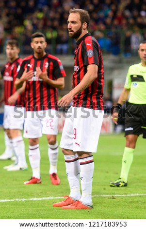 9a215aaed MILAN OCT 21 2018 Gonzalo Higuain Stock Photo (Edit Now) 1217183953 ...