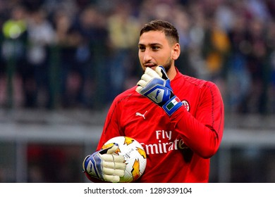 MILAN - OCT 25, 2018: Gianluigi Donnarumma 99 close up portrait. AC Milan - Betis. UEFA Europe League. Giuseppe Meazza stadium.