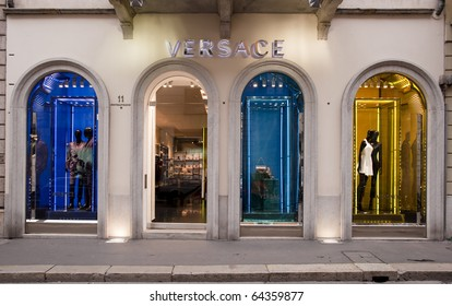 MILAN - OCT 8: Versace luxury boutique store windows in Milan on Oct 8, 2010. Versace revenue in 2010 will exceed €280 MLN ($387 MLN), CEO Mr Ferraris said, more than a January forecast of €270 MLN.