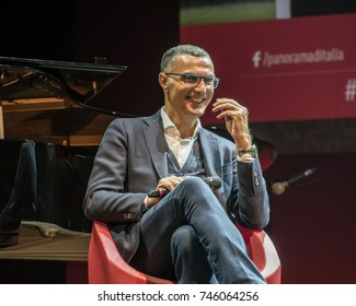 "Milan, October 18, 2017: Giuseppe Bergomi, former Inter football team player, tv football commentator, laughs at one of the meetings of ""Panorama d'Italia"" cultural week on best practices in Italy"