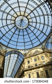 MILAN - OCTOBER  20: Glass ceiling in Vittorio Emanuele gallery of Milan on October 20, 2012.