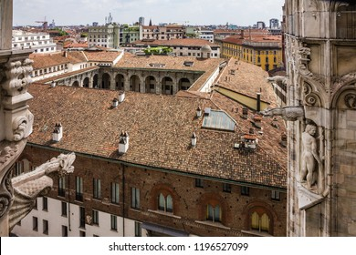 Milan panorama, Italy. Milano Duomo Cathedral church architecture.