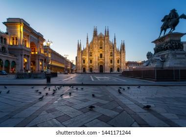 Milan Piazza del Duomo square. City center illuminated in the dusk. Milano, Italy