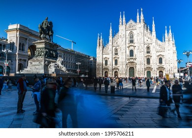 Milan Piazza Duomo Dome Square with People in Spring Season Duomo Gothic Cathedral in Milan,Italy-May 2019
