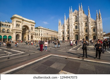 Milan Piazza Duomo with People and Tourists and Blue Sky in Milan,Italy-January 2019