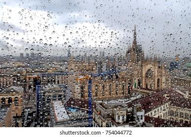 Milan - rain - duomo cathedral and skyline