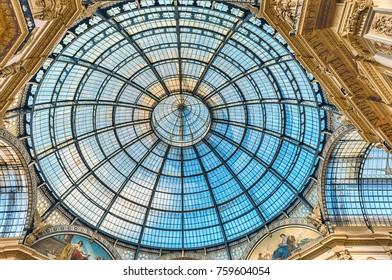 MILAN - SEPTEMBER 11: Glass dome of the Galleria Vittorio Emanuele II, iconic shopping center and landmark in Milan, Italy, September 11, 2017