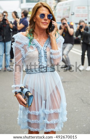 2fa36f5d32a3 MILAN SEPTEMBER 22 Anna Dello Russo Stock Photo (Edit Now) 492670015 ...