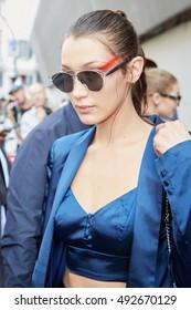 MILAN - SEPTEMBER 22: Bella Hadid after Max Mara fashion show, Milan Fashion Week street style on September 22, 2016 in Milan.