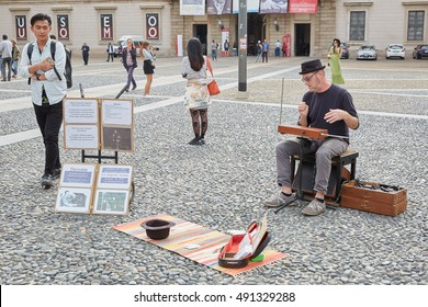 MILAN - SEPTEMBER 22: Man playing Theremin, electronic musical instrument controlled without contact on September 22, 2016 in Milan.