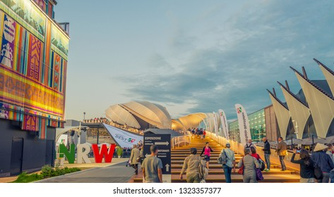 MILAN - SEPTEMBER 24, 2015: Unidentified people visit EXPO 2015 pavillions in Milan, Italy. EXPO 2015 took place from 1 May to 31 October 2015