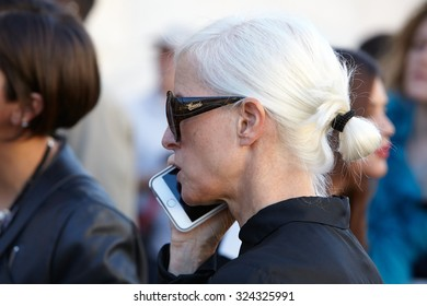 MILAN - SEPTEMBER 24: Woman seen before Cristiano Burani show with Gucci sunglasses during Milan Fashion Week Day 2, Spring / Summer 2016 street style on September 24, 2015 in Milan.