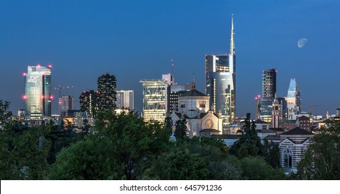 Milan skyline by night, Italy
