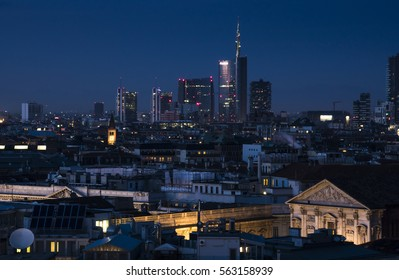 Milan skyline with modern skyscrapers in Porta Nuova business district in Milan, Italy. Night view.