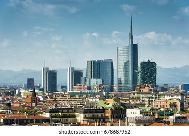 Milan skyline with modern skyscrapers in Porto Nuovo business district, Italy. Panorama of Milano city for background. Summer panoramic view of Milan from above. Architecture and cityscape of Milan.