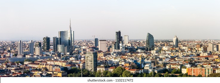 Milan skyline, panoramic view, Italy