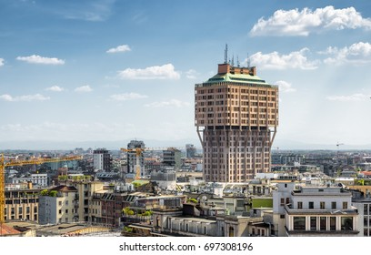 Milan skyline with Velasca Tower (Torre Velasca), Italy. Milan on the blue sky background. Panoramic view of Milan. Architecture, cityscape and landscape of Milan. Unusual buildings in Milano.