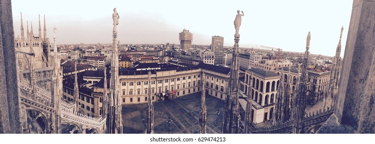 Milan south panoramic view from the rooftop of the Duomo di Milano during mysterious sunset