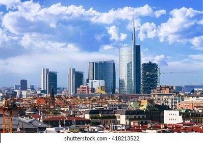 Milan, view on the skyline from the Duomo, Lombardia, Italy