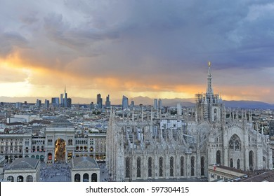 Milan - Vittorio Emanuele gallery and skyline during the sunset - Duomo