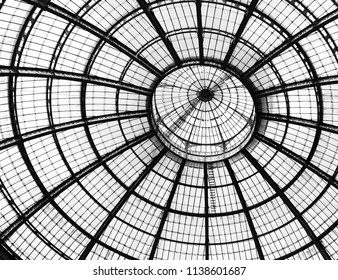 Miland, Italy: April 14. 2017 - Glass dome of Galleria Vittorio Emanuele II shopping gallery. Milan, Italy