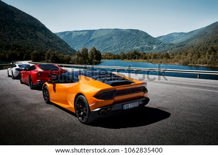 Miland Norway 04062016 Yellow Lamborghini Huracan Stock Photo Edit