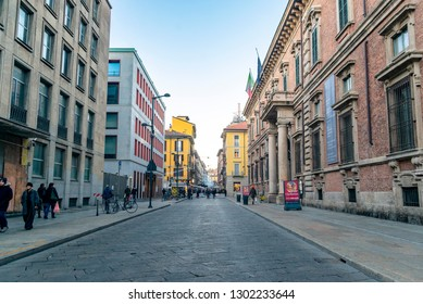 Milan/Italy - 01.05.2018: The view on the street in the city centre in Milan.