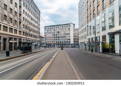 Milan/Italy - 01.20.2018: The view on the street in the city centre in Milan.