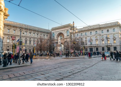 Milan/Italy - 01.5.2018: The view on the street in the city centre in Milan.