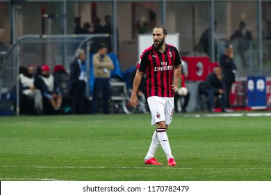 Milan,Italy, august 31 2018: Higuain Gonzalo WAITING for a goalkeeper-throw in the second half during football match AC MILAN vs AS ROMA, Italy League Serie A 2018/2019 day3, San Siro stadium