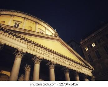 Milan/Italy - December 19 , 2018: Cathedral o San Carlo near Duomo