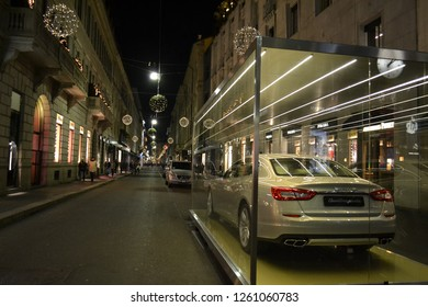 Milan/Italy - December 31, 2013: Close-up view to the luxurous Maserati car exposed in the Milan fashion downtown for the Christmas holidays.