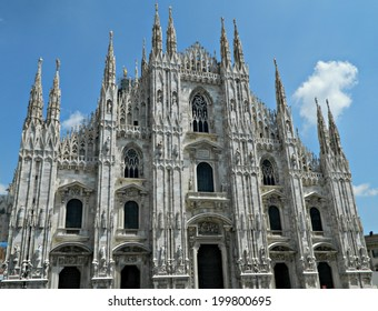 MILAN,ITALY - JULY 7, 2012. Facade of the  Milan Cathedral (Metropolitan Cathedral-Basilica of the Nativity of Saint Mary) the fifth largest cathedral in the world .