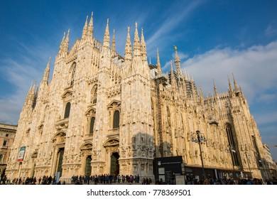 MILAN,ITALY - October 28 2016:Milan duomo Italy christian church landmark center city.